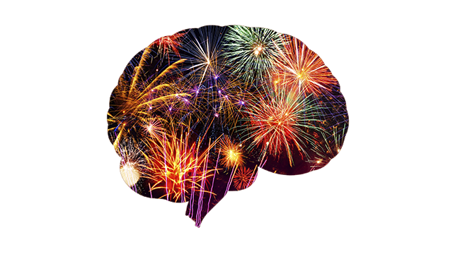 Shape of a brain with a fireworks fill-in image.