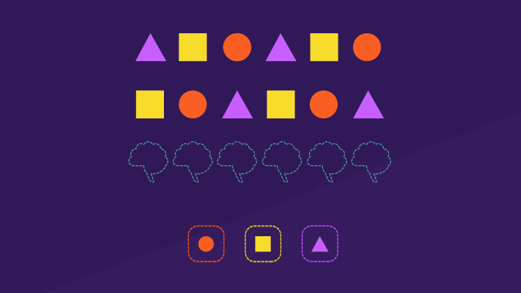 A series of colorful shapes that build a pattern