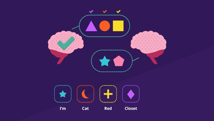 Two cartoon brains with colorful symbols in speech bubbles between them