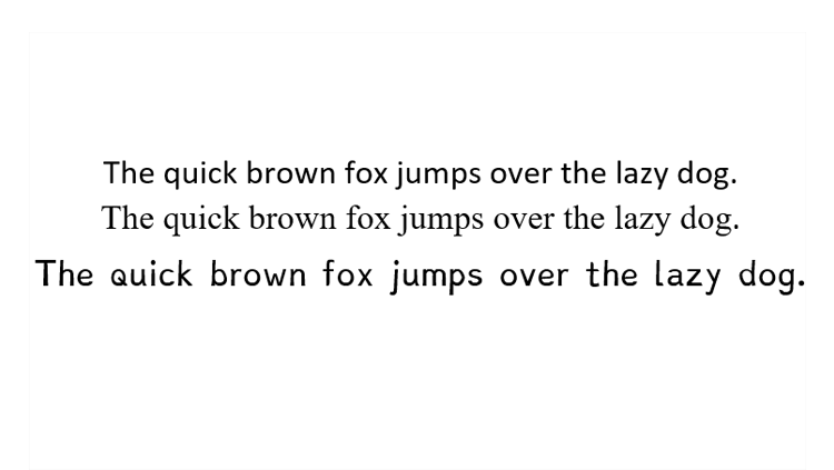Image of a sentence in dyslexia font