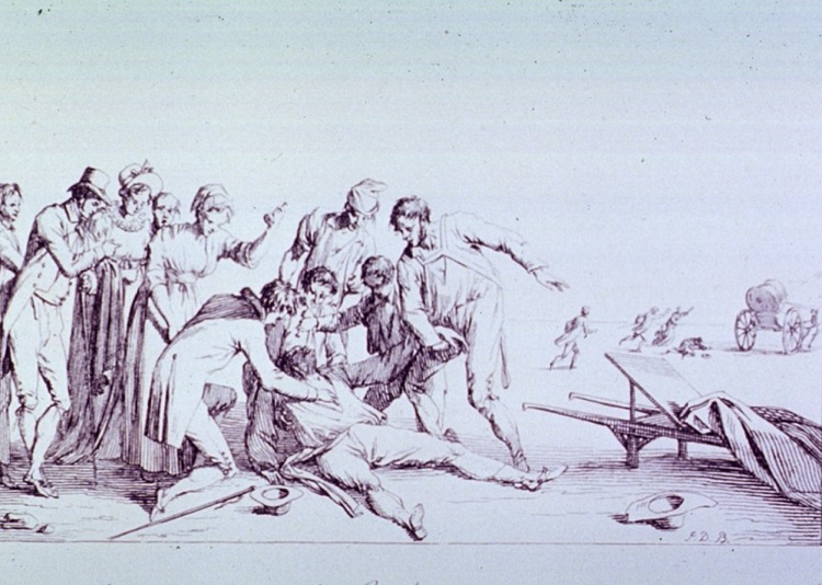 This illustration depicts a scene in the 1800s of a man having an epileptic seizure while townspeople huddle around to assist him.
