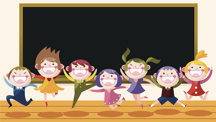 Cartoon of students jumping in front of a chalkboard