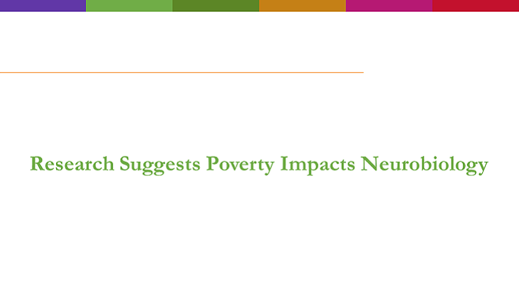 Text reads: research suggests poverty impacts neurobiology