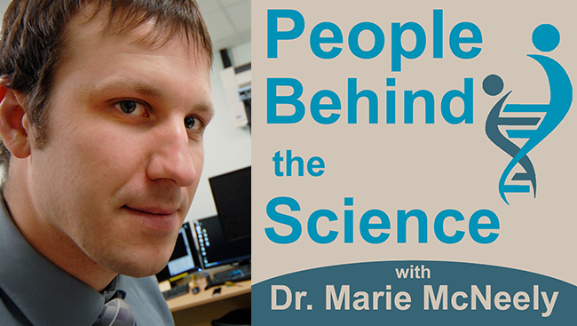 Photo of Adam Dubin, interviewed for the People Behind the Science podcast.