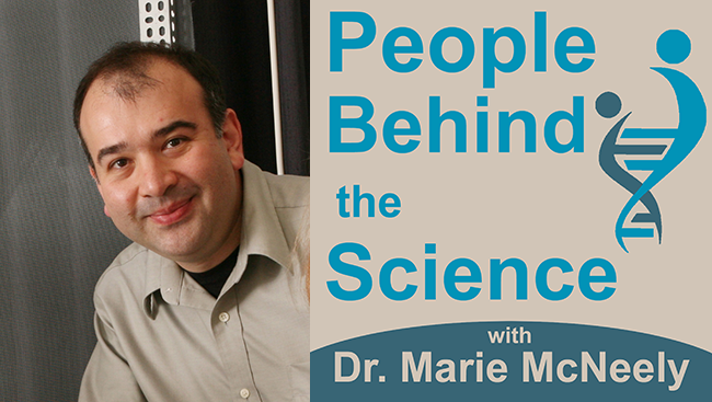 Image of Ege Kavalai paired with the People Behind the Science logo.