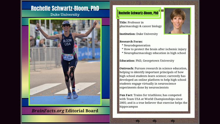 Photograph of Rochelle Schwartz-Bloom with bio to the right of it
