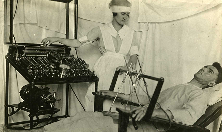 Image of man receiving electro schock therapy