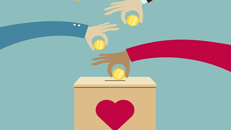 Illustration of hands putting coins in a box