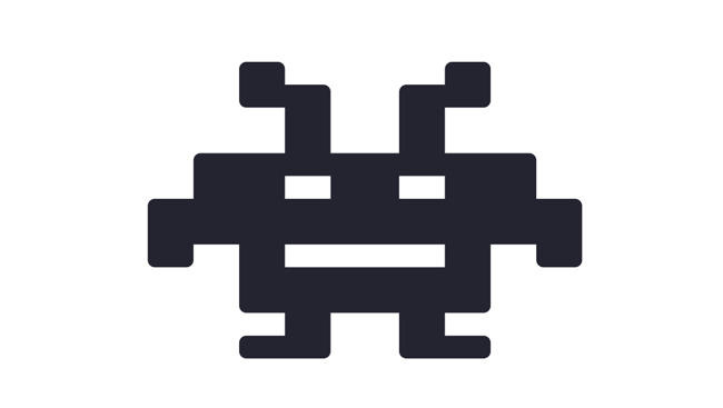 Icon of pixel video game character.