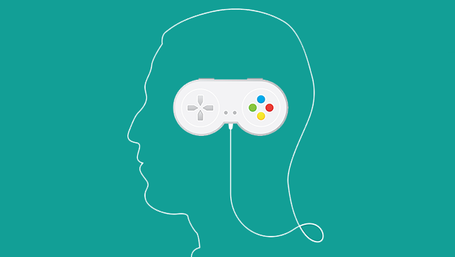 Illustrating of a human head with a video game controller.