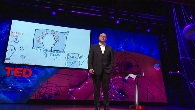 Image of Russell Foster giving a TED Talk,