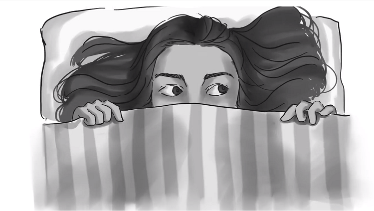 Illustration of a child looking frightened under the sheets