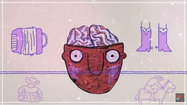 A drawing of a man with a brain and imaginary images surrounding it.