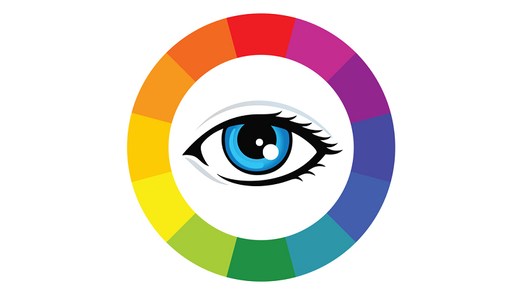 Image of an eye inside of a color wheel