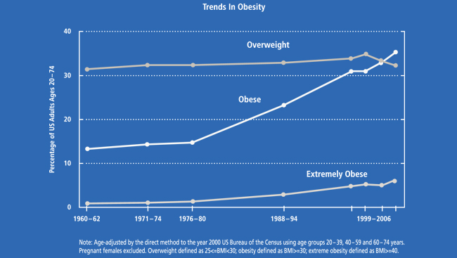Line graph charting obesity