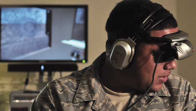 Soldier using virtual reality equipment