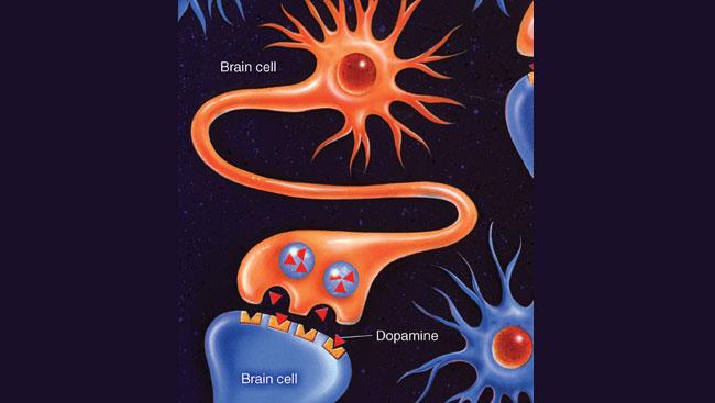 Illustration of dopamine molecules blocked from receptors