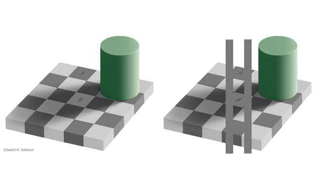 Cylinder shadows compared on checkered surfaces