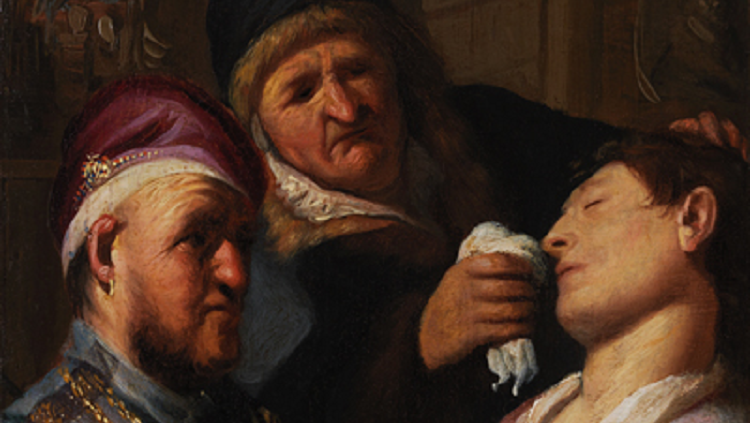 Unconscious Patient (Allegory of Smell). One of five oil-on-board paintings in the series The Senses by Rembrandt.