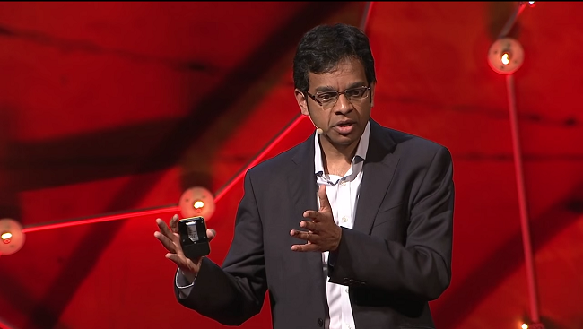 Photo of Siddharthan Chandran during his TED Talk 'Can the Damaged Brain Repair Itself?'