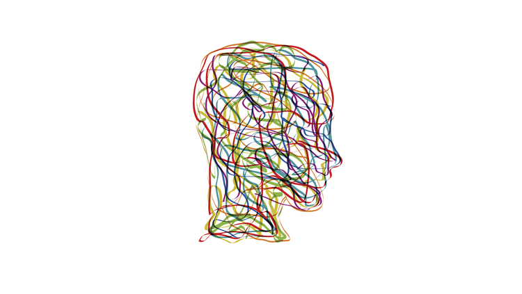 Image of illustrated colorful head