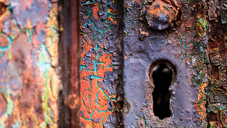 Photograph of a rusted keyhole