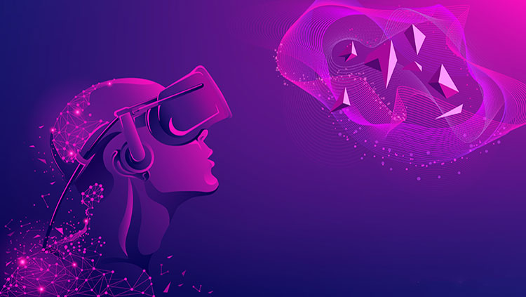 Animated women with virtual reality headset