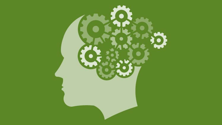 Head with gears for a brain with green background