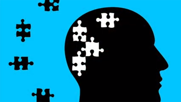 Puzzle pieces fitting into silhouette of head