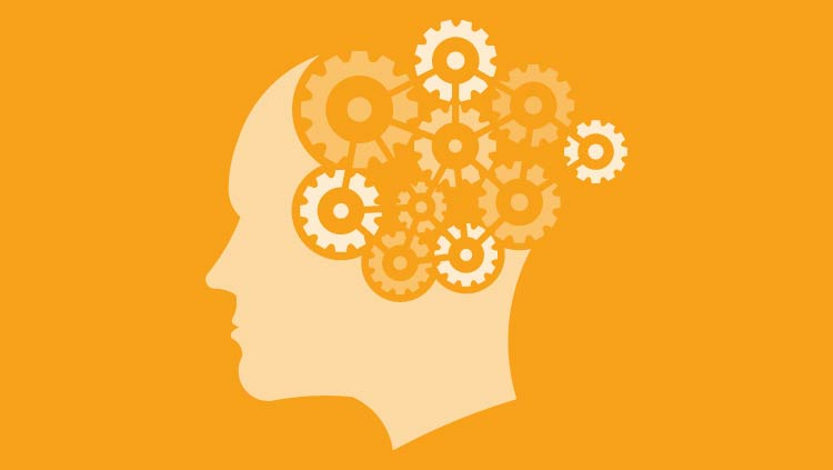 Head with gears for a brain with a yellow background