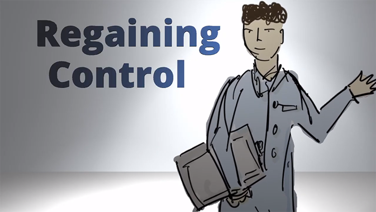 Cartoon character with the words regaining control