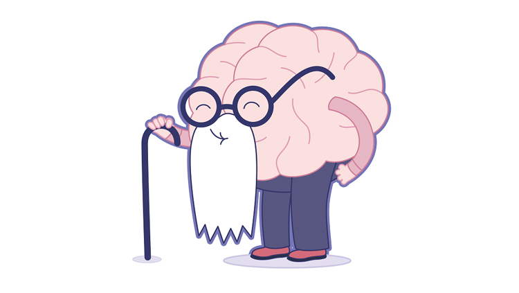 Cartoon of a brain dressed up as an elderly man with a cane and glasses