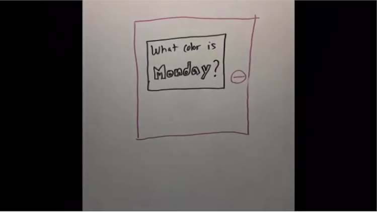 text what color is monday written on a whiteboard