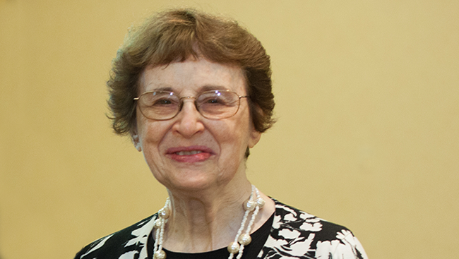 Photo of Bernice Grafstein, first woman to become president of the Society for Neuroscience (SfN).