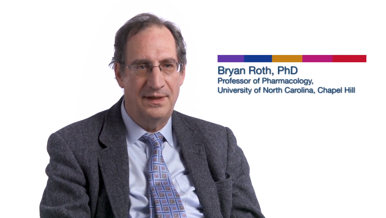 A video still of professor Bryan Roth