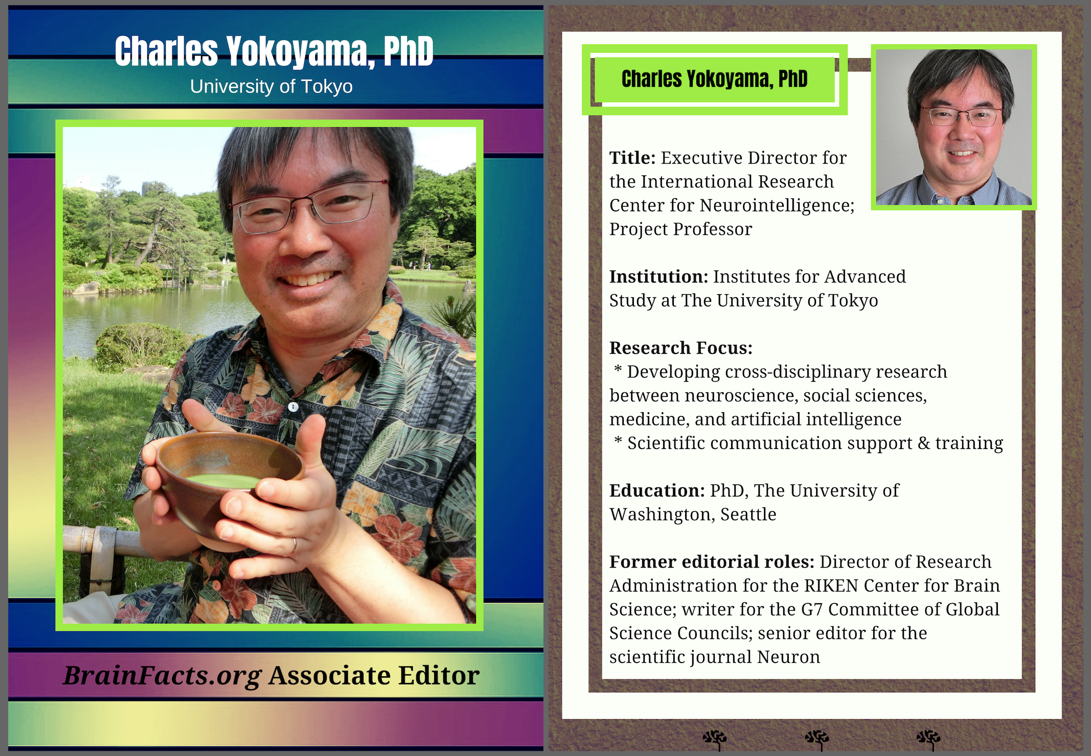 Photograph of Charles Yokoyama with facts to the right of it