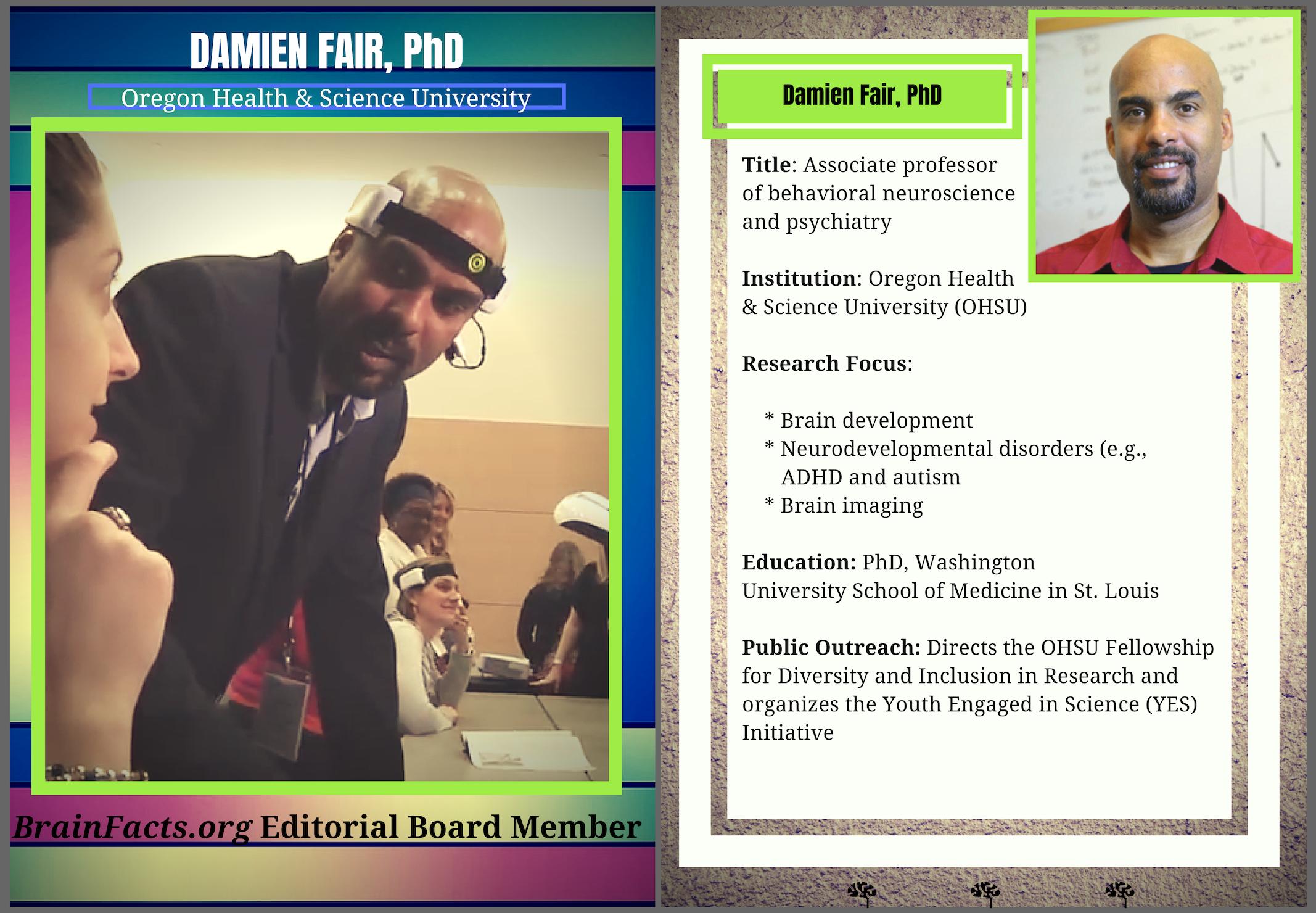 Image of Damien Fair, PhD next to text describing his work
