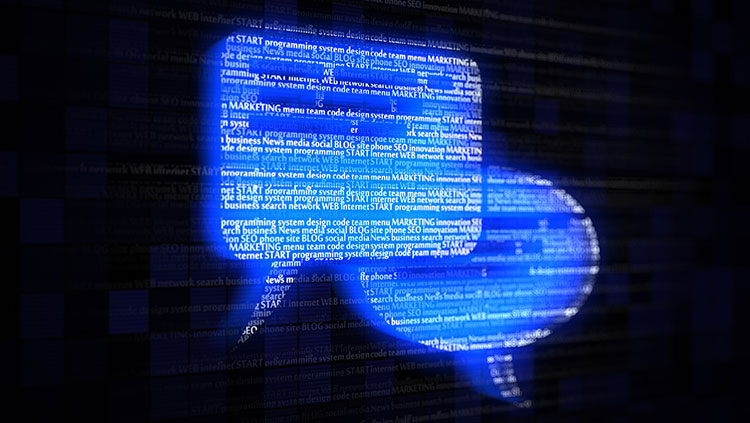 Speech bubbles with text on a computer screen