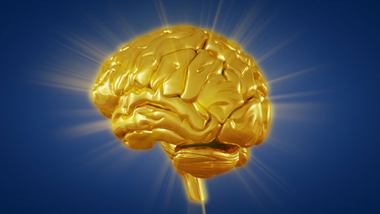 3d render golden brain with convolutions and a radiance of light