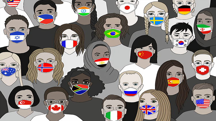 People from different countries with mask on