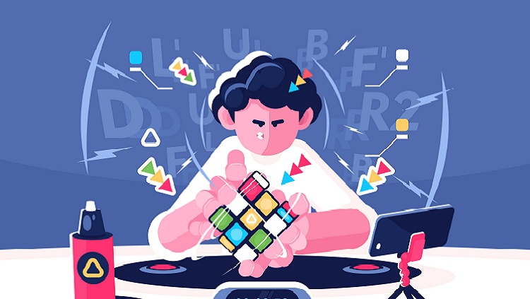 Cartoon illustration of a person figuring out a rubix cube