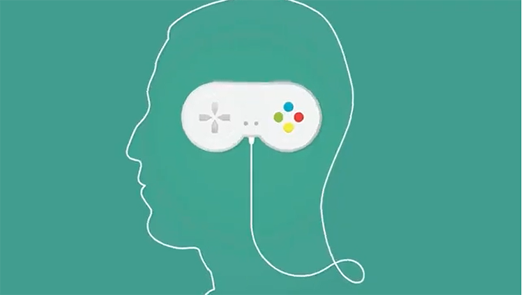 Video game controller in head