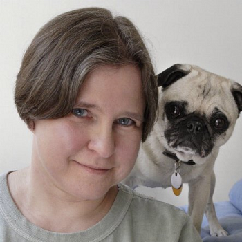 Photograph of Linda Lombardi and a pug