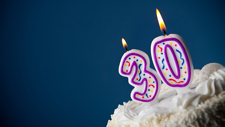 Photograph of a cupcake with birthday candles