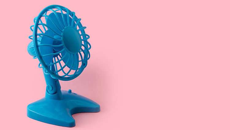 blue fan with pink background