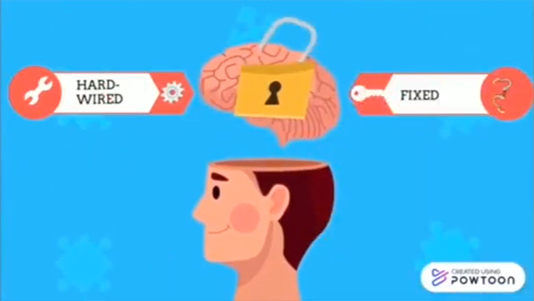 Man with a keylock on brain