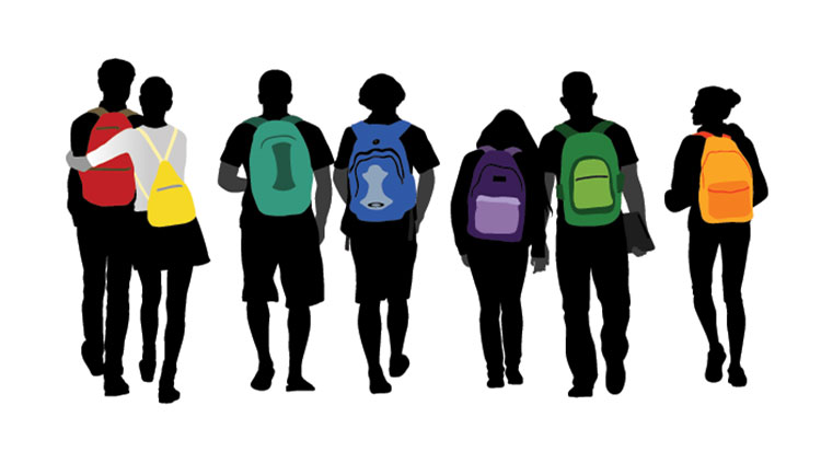 images of kids with different colored backpacks
