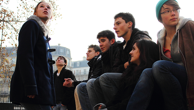 Teenagers loitering.