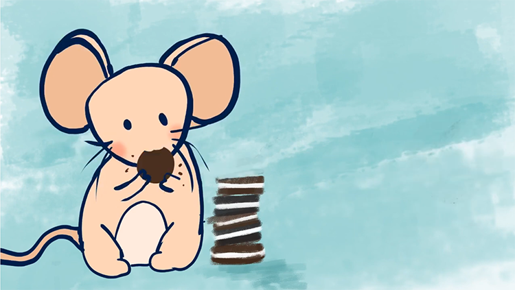 Mouse eating oreo cookies