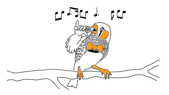 Illustration of a bird sitting on a tree limb; bird is holding a microphone to demonstrate singing, while musical notes are drawn to illustrate sound and song.